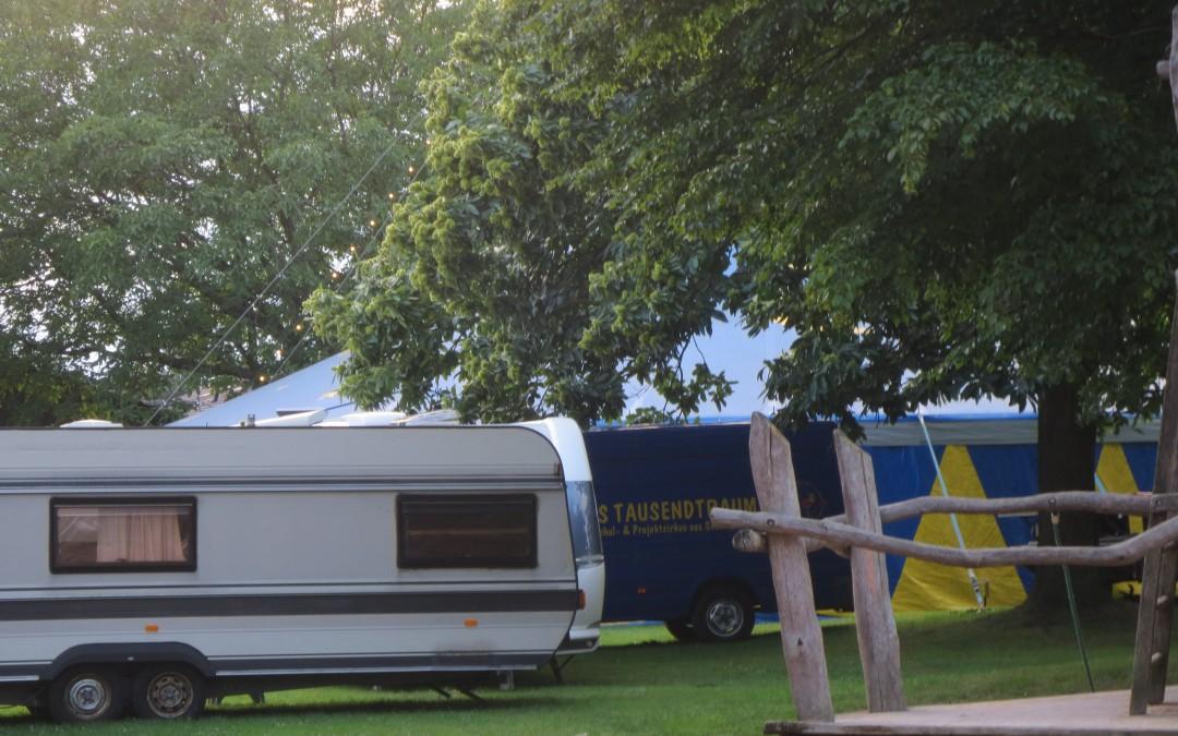Das Zelt steht schon